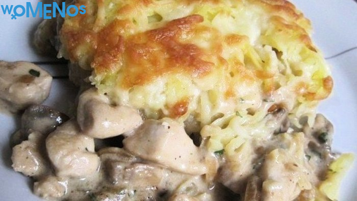An original dish from the available ingredients - chicken with mushrooms in the oven